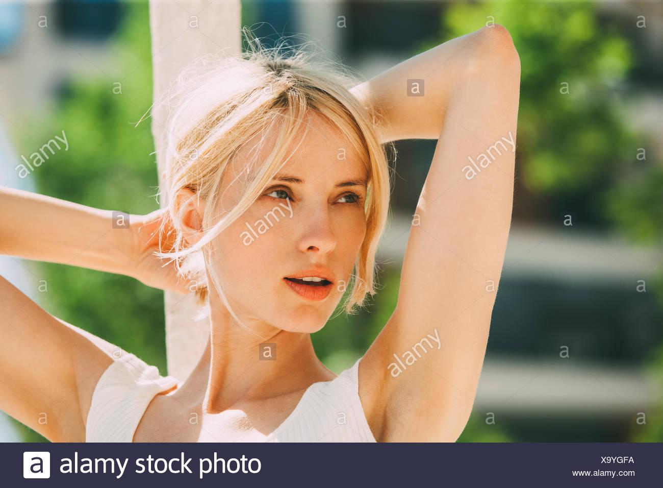 Portrait of blond woman - Stock Image
