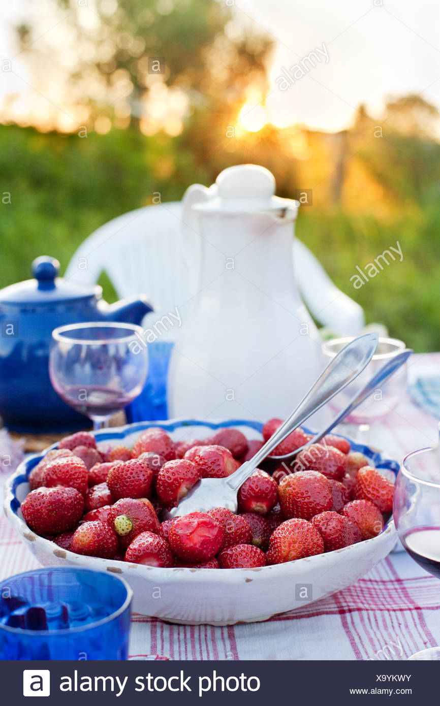 Bowl with strawberries on picnic table - Stock Image