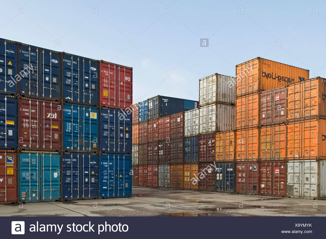 Bonn Container Terminal, overlooking stacked oversea containers in the depot, Bonn harbour, North Rhine-Westphalia, Germany, Eu Stock Photo