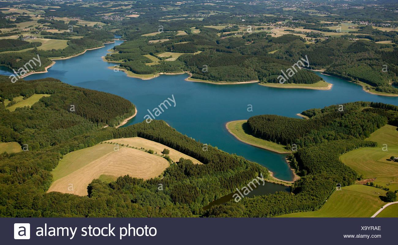 Aerial view, Grosse Dhuenntal Dam, Rheinisch-Bergisch district, North Rhine-Westphalia, Germany, Europe - Stock Image