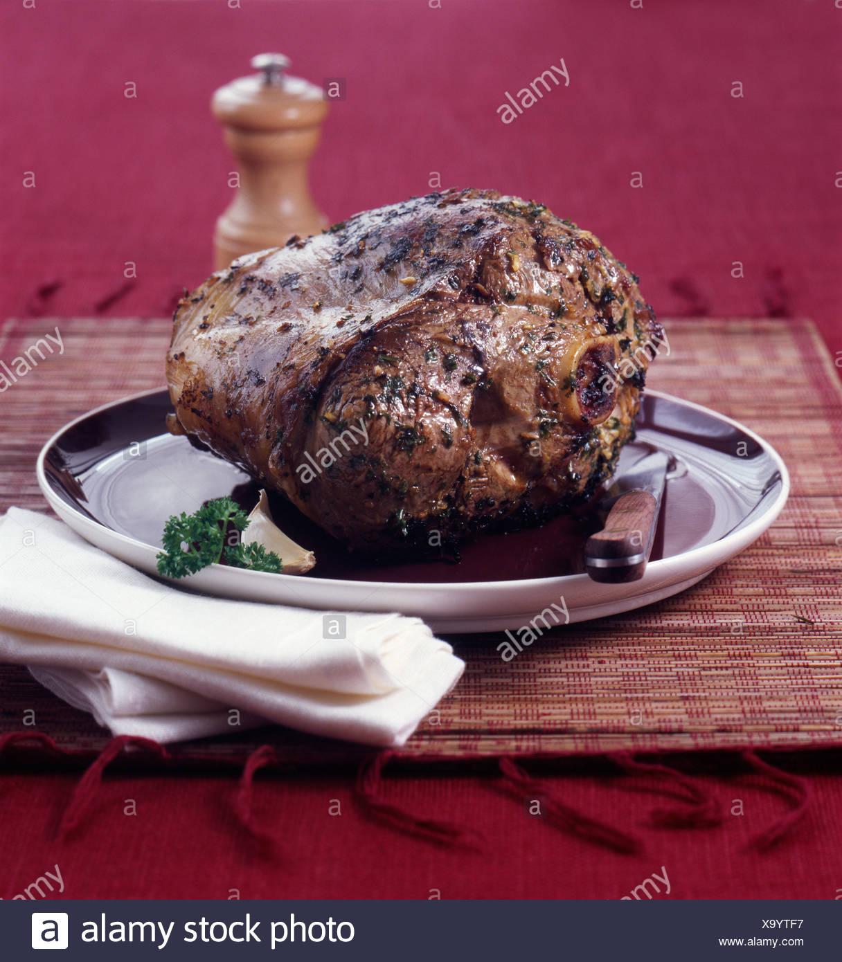 Leg of lamb à la girondine - Stock Image
