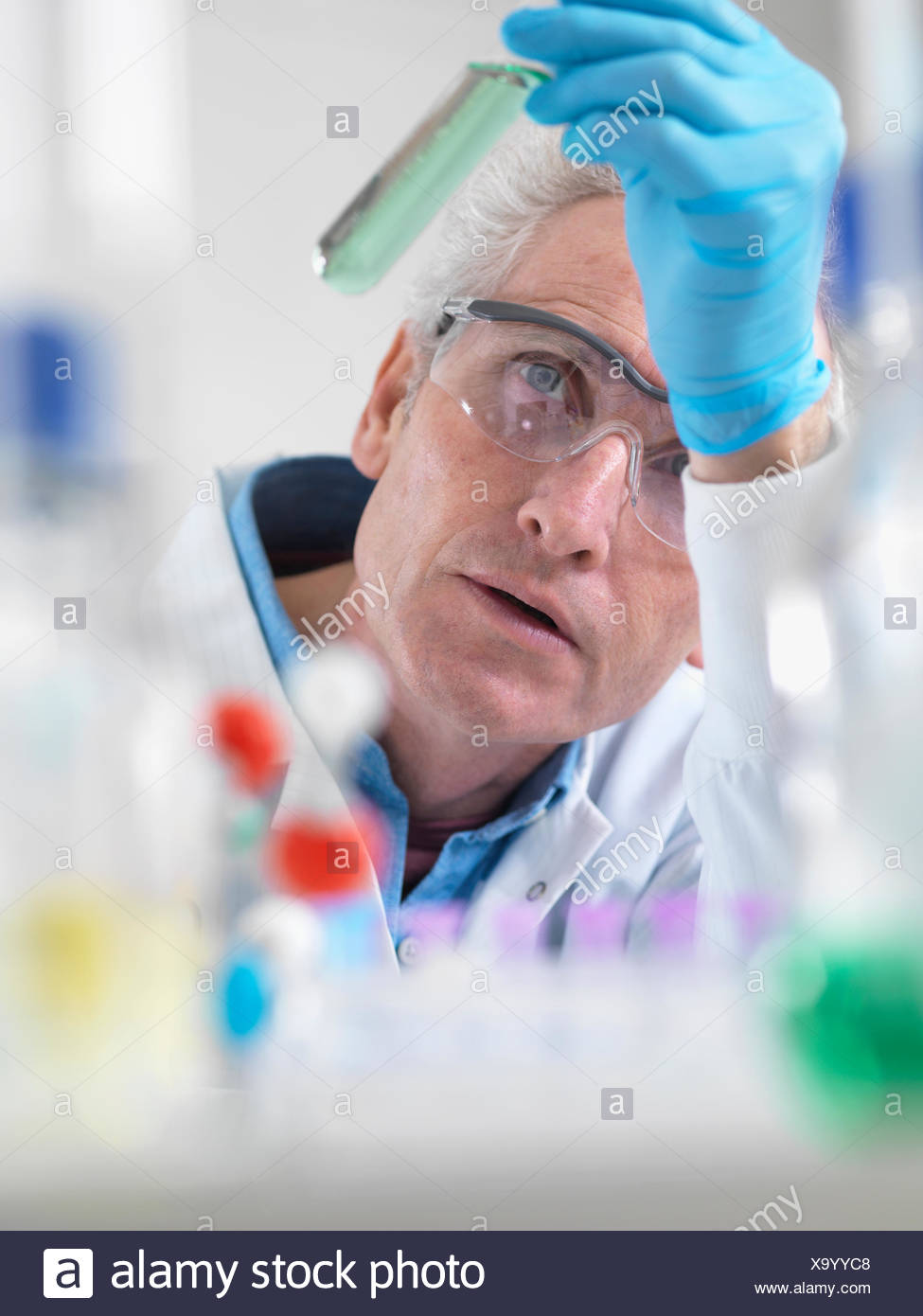 Scientist viewing chemical experiment in laboratory - Stock Image