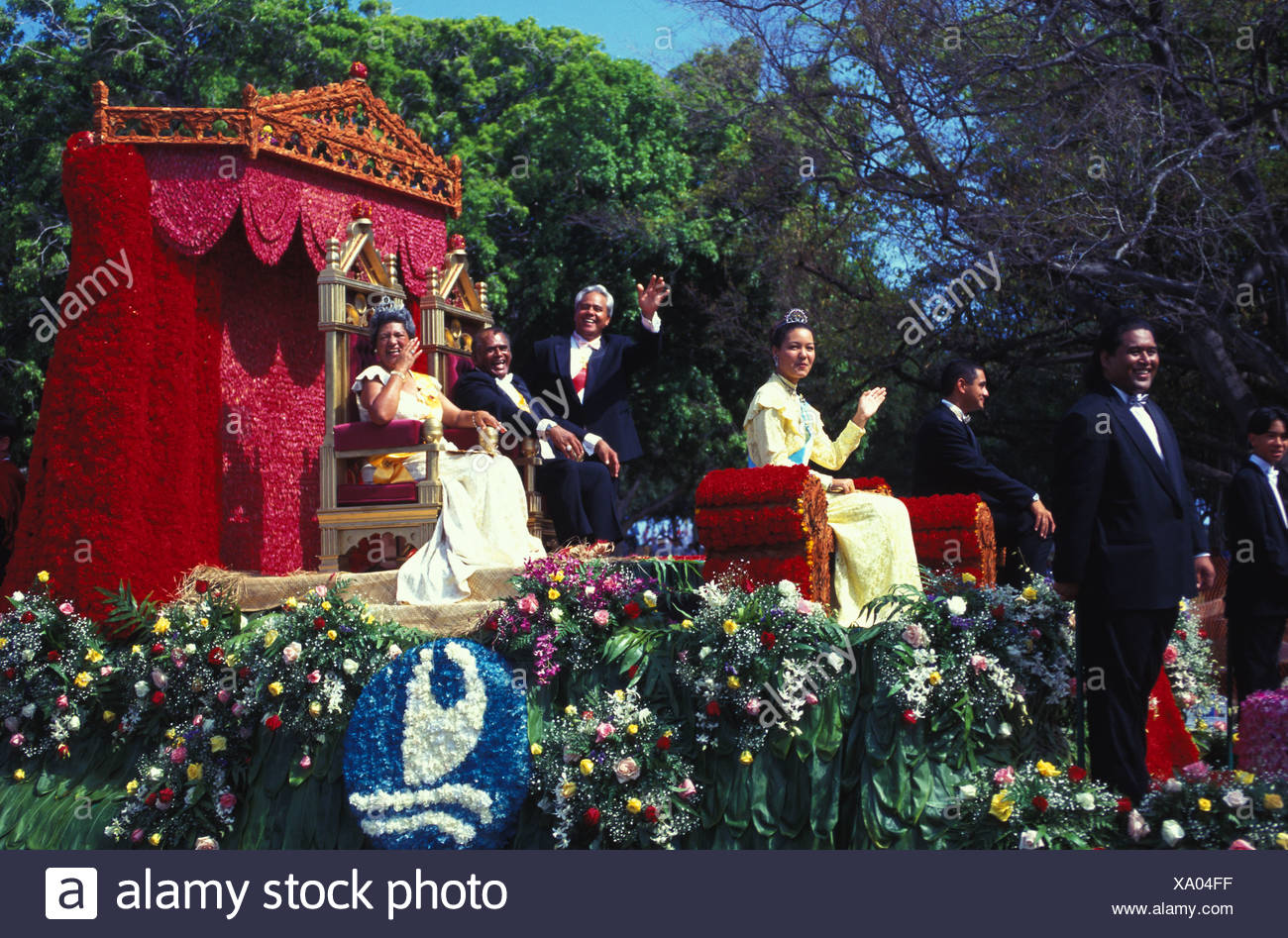 royal court float in the aloha festivals parade a yearly event in