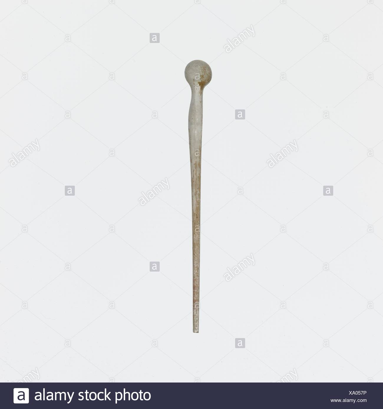 Glass pin. Period: Imperial; Date: 1st-4th century A.D; Culture: Roman; Medium: Glass; drawn and tooled; Dimensions: Overall: 3 7/8in. (9.8cm); Stock Photo