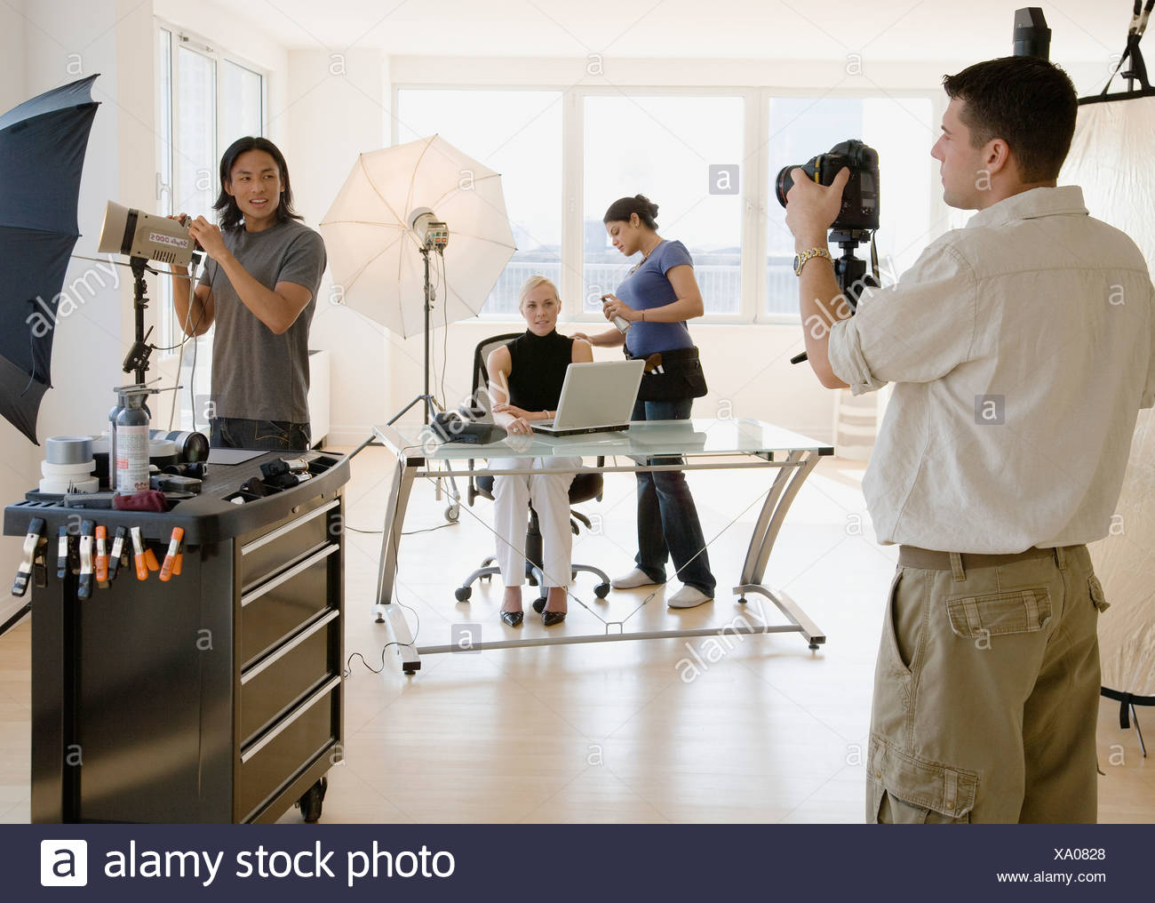 Business photo shoot in studio - Stock Image