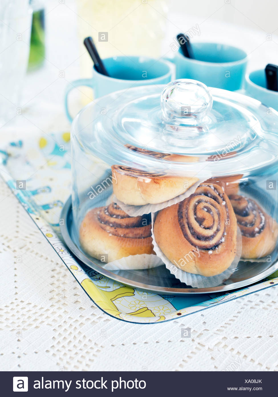 Buns on a laid table, Sweden. - Stock Image