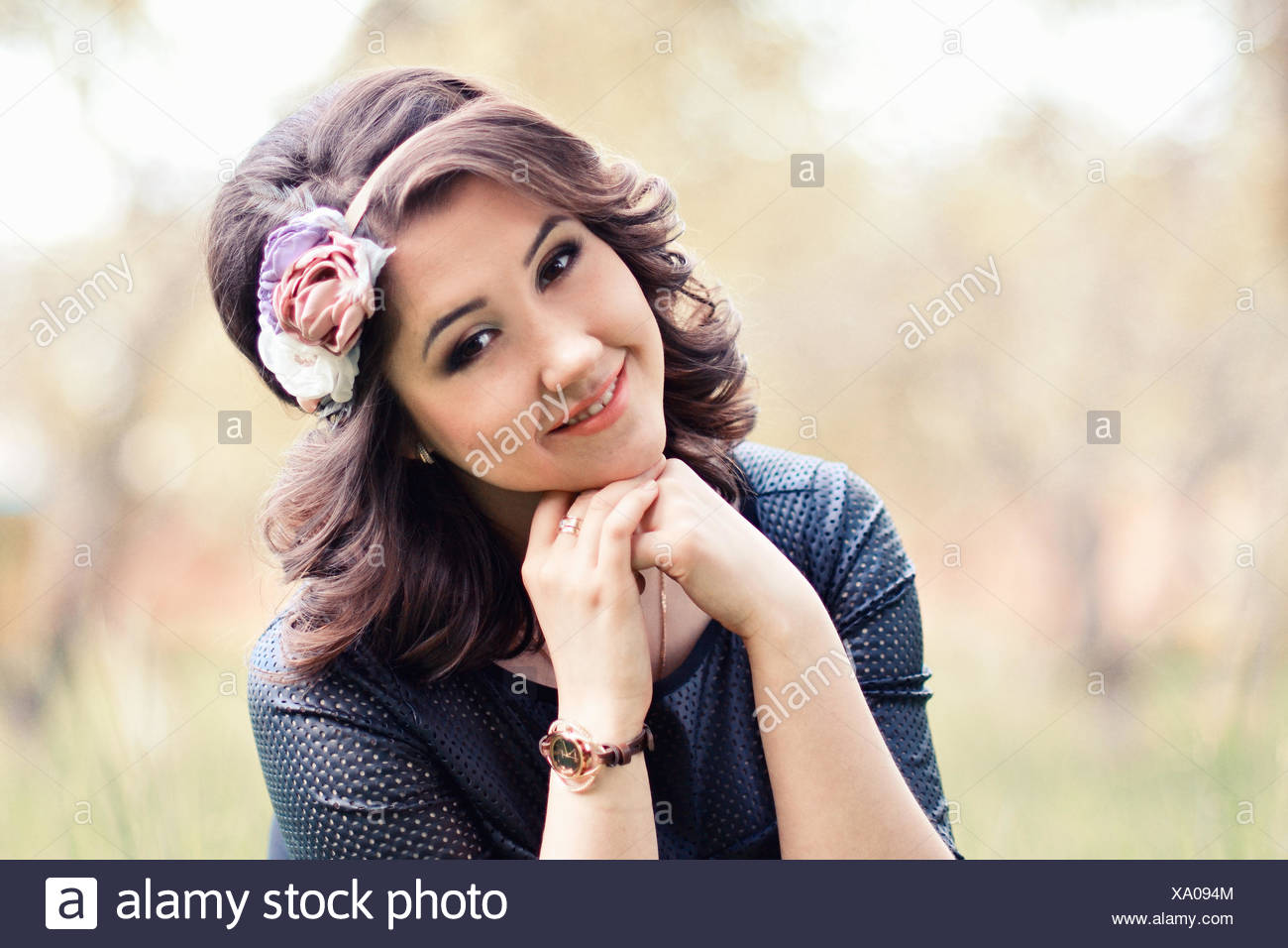 Close up portrait of beautifulcute girl with wreath of rose stunningattractive smile smiling woman in special tones close up portrait of beautifulcute