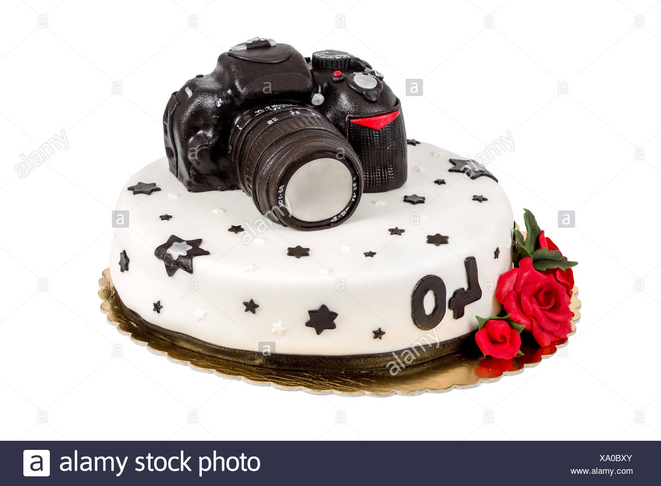 Pleasant Birthday Cake For Forty Anniversary With Modern Dslr Photo Camera Funny Birthday Cards Online Benoljebrpdamsfinfo