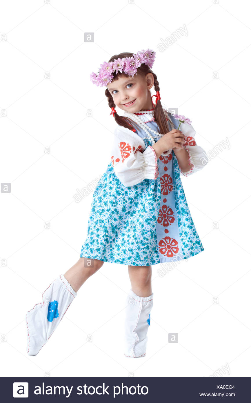 Beautiful little girl in slavic costume - Stock Image
