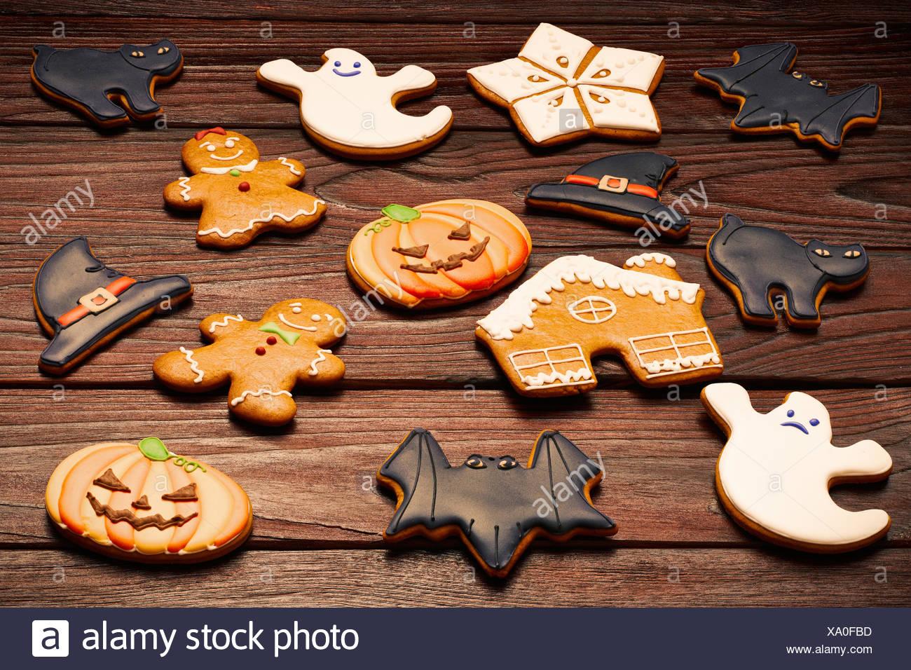 Halloween And Christmas.Halloween And Christmas Homemade Gingerbread Cookies Stock