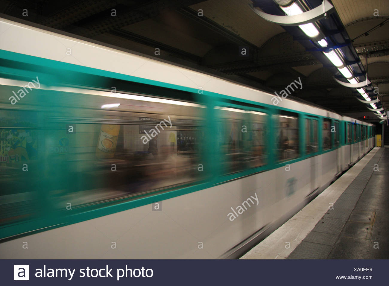 Paris, metro, subway, underground, Reaumur Sebastopol, train, entrance, transport, publicly, blurs - Stock Image