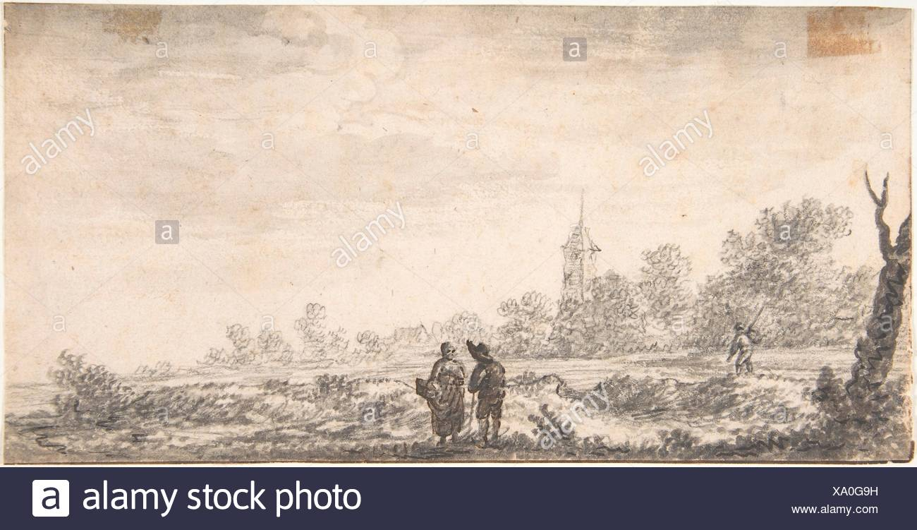 Landscape with Two Figures Conversing. Artist: Attributed to Salomon van Ruysdael (Dutch, Naarden, born ca. 1600-1603, died 1670 Haarlem); Date: 17th Stock Photo