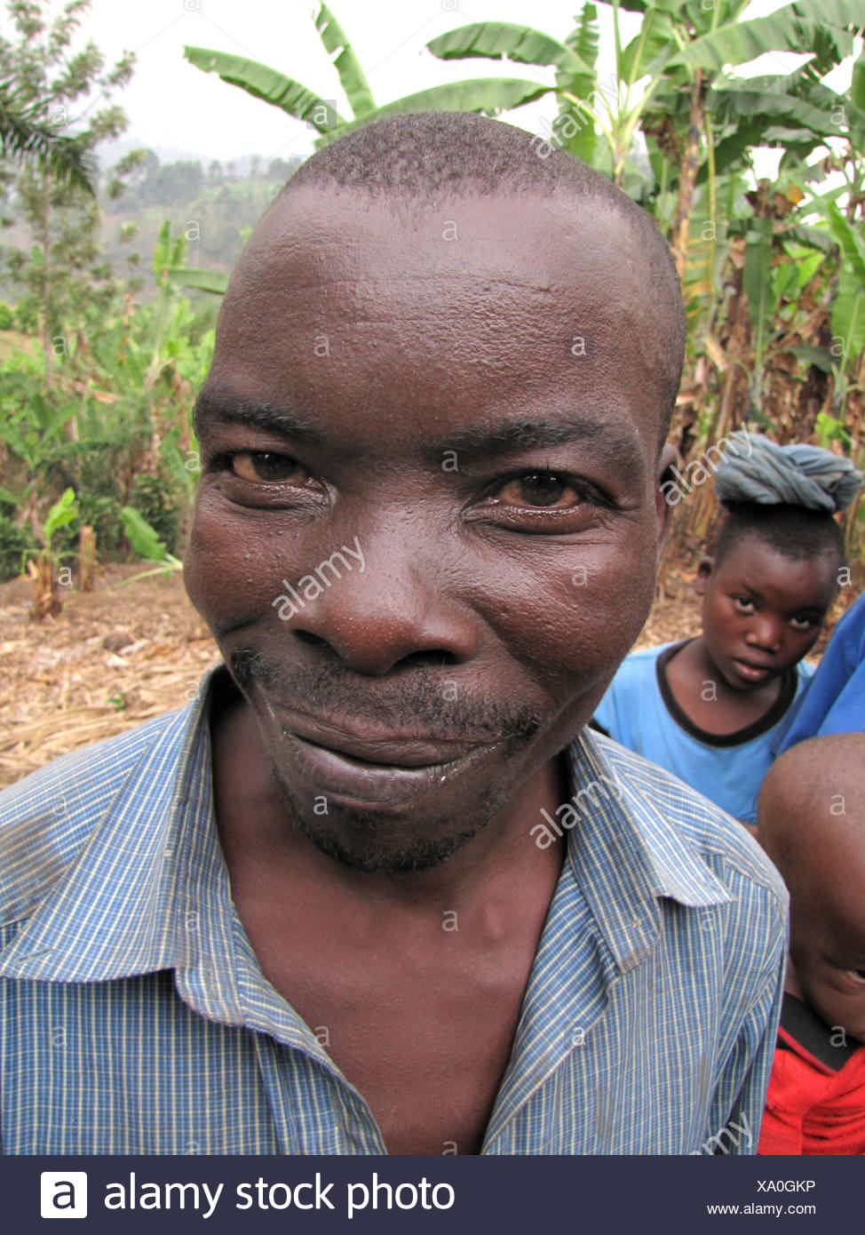 Portrait of a member of the minority of the Batwa, Burundi, Bujumbura rural, Mutimbuzi - Stock Image