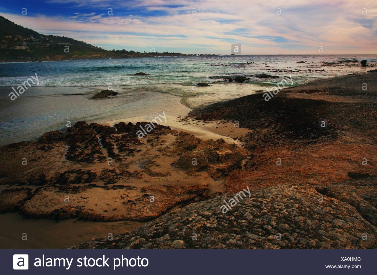 Shoreline with rocky terrain - Stock Image