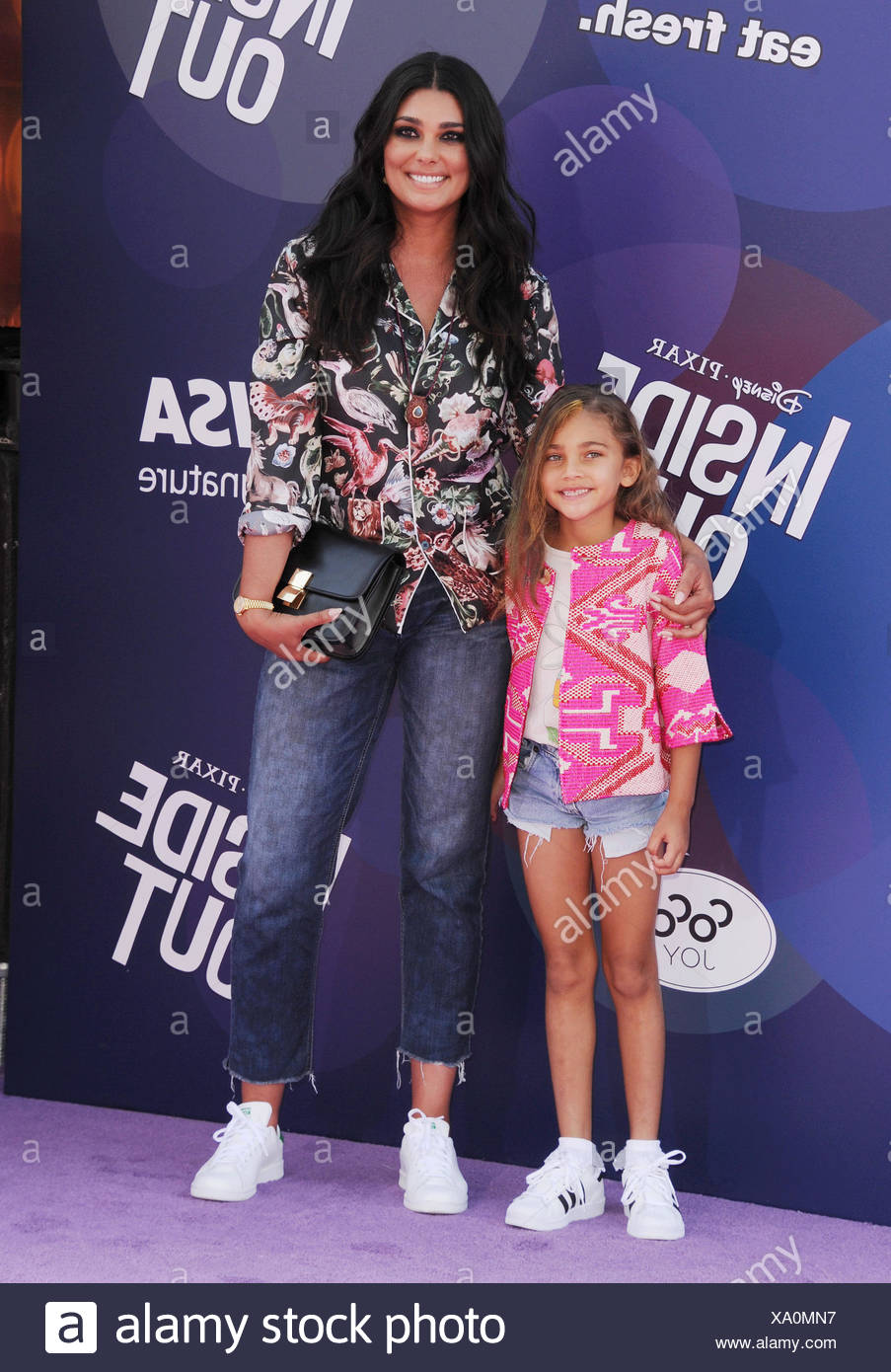 Fashion designer Rachel Roy (R) and daughter Tallulah Ruth Dash arrive at the Los Angeles premiere of Disney/Pixar's 'Inside Out' at the El Capitan Theatre on June 8, 2015 in Hollywood, California., Additional-Rights-Clearances-NA - Stock Image