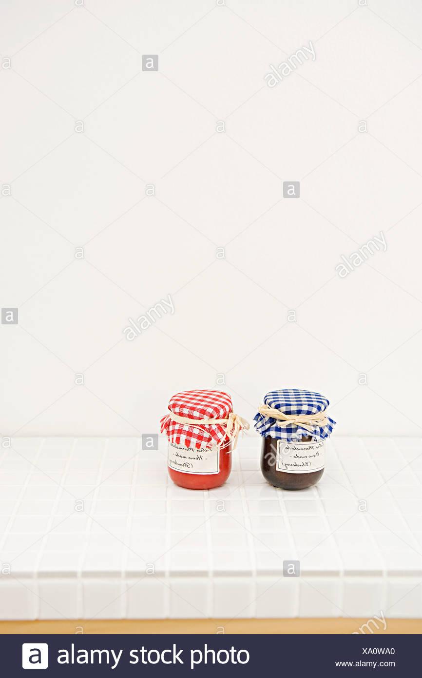 Jars of jam - Stock Image