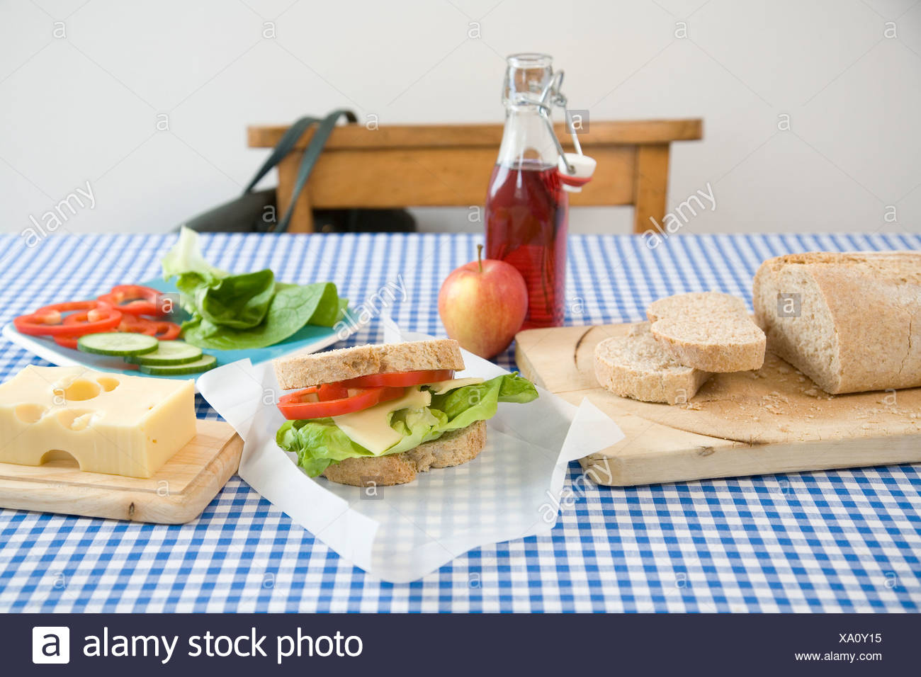 Packed lunch and ingredients - Stock Image