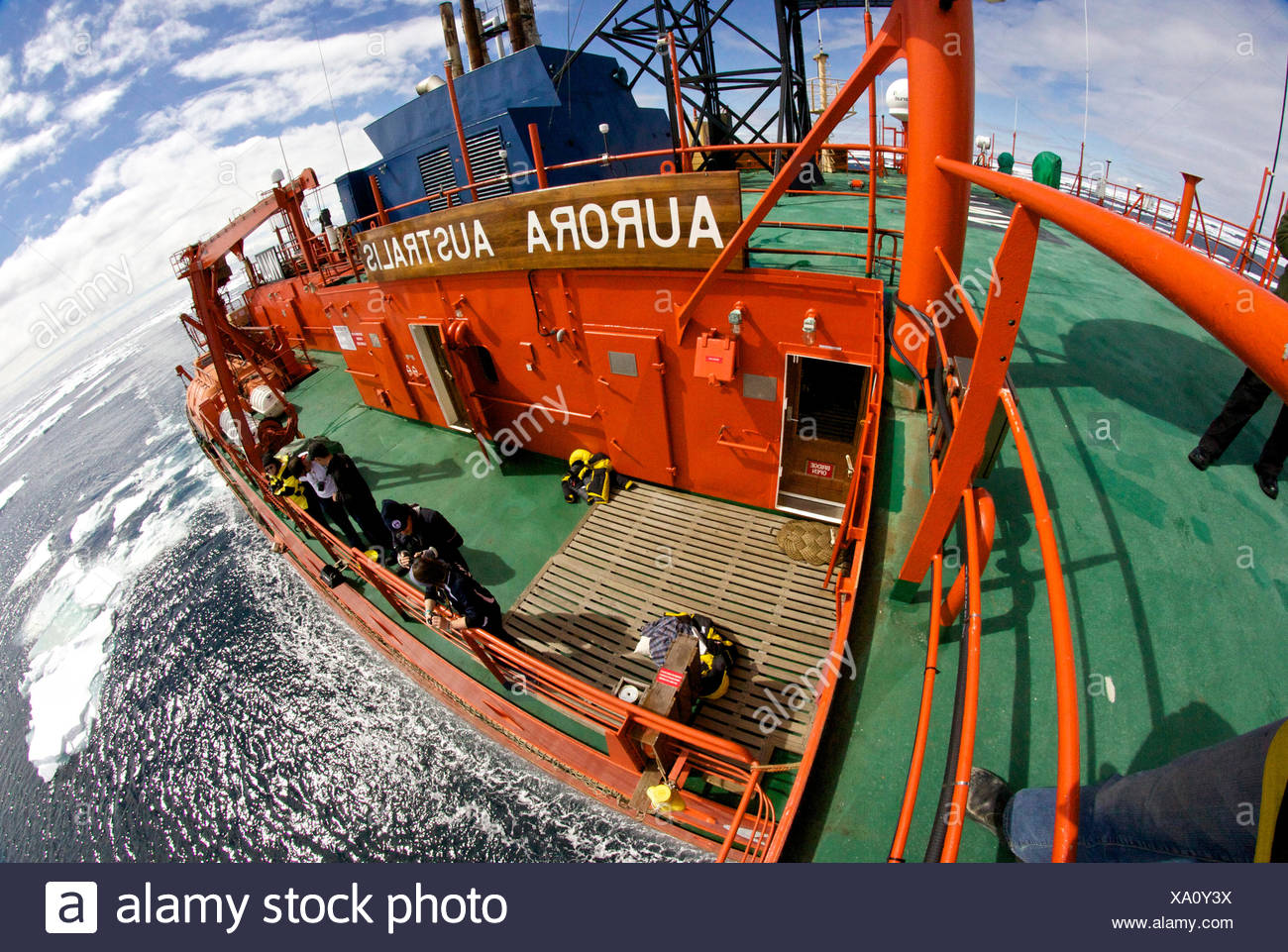 High angle view of the deck of the icebreaker 'Aurora Australis', Antarctica. All non-editorial uses must be cleared individually. - Stock Image