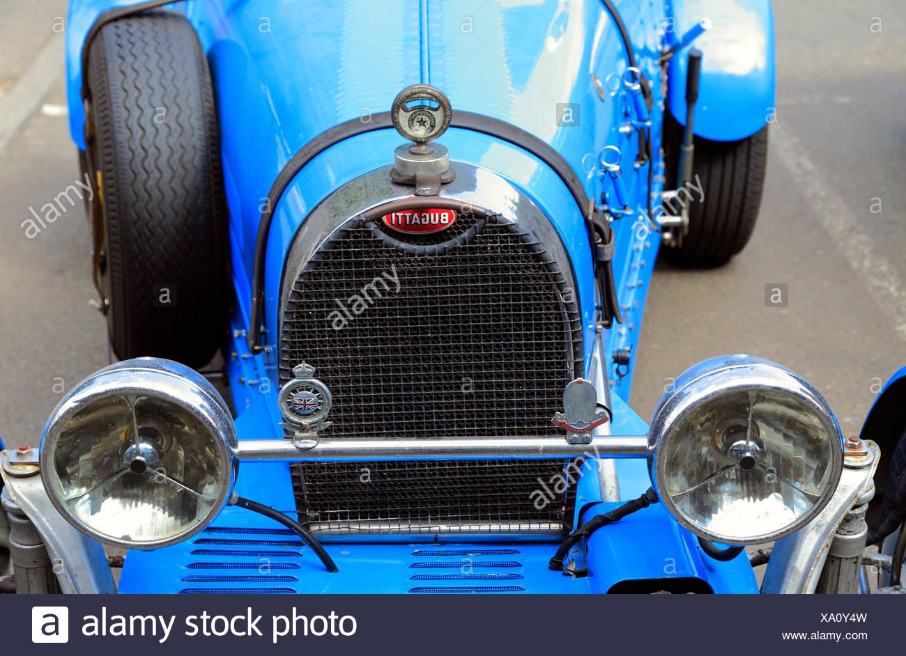 Bugatti, Racing Car, vintage racing car, vehicle, motor, detail, radiator grill - Stock Image