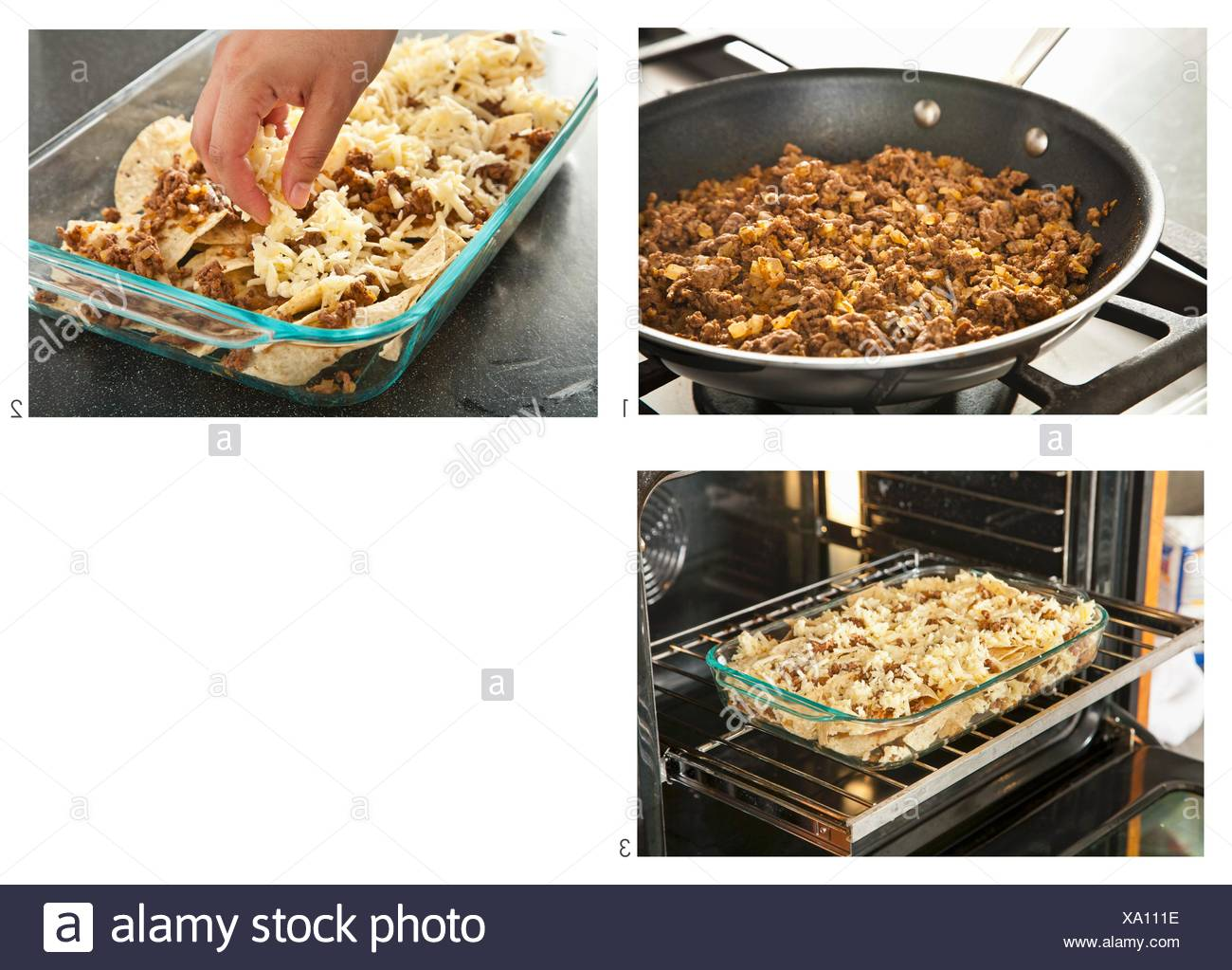 Making Beef Nachos - Stock Image