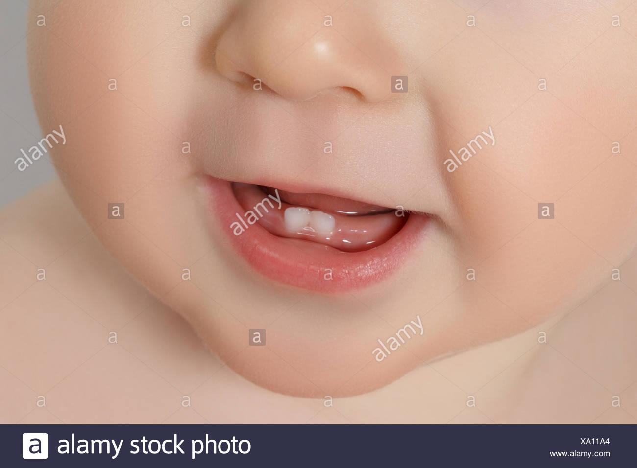 closeup of a Baby teeth Stock Photo