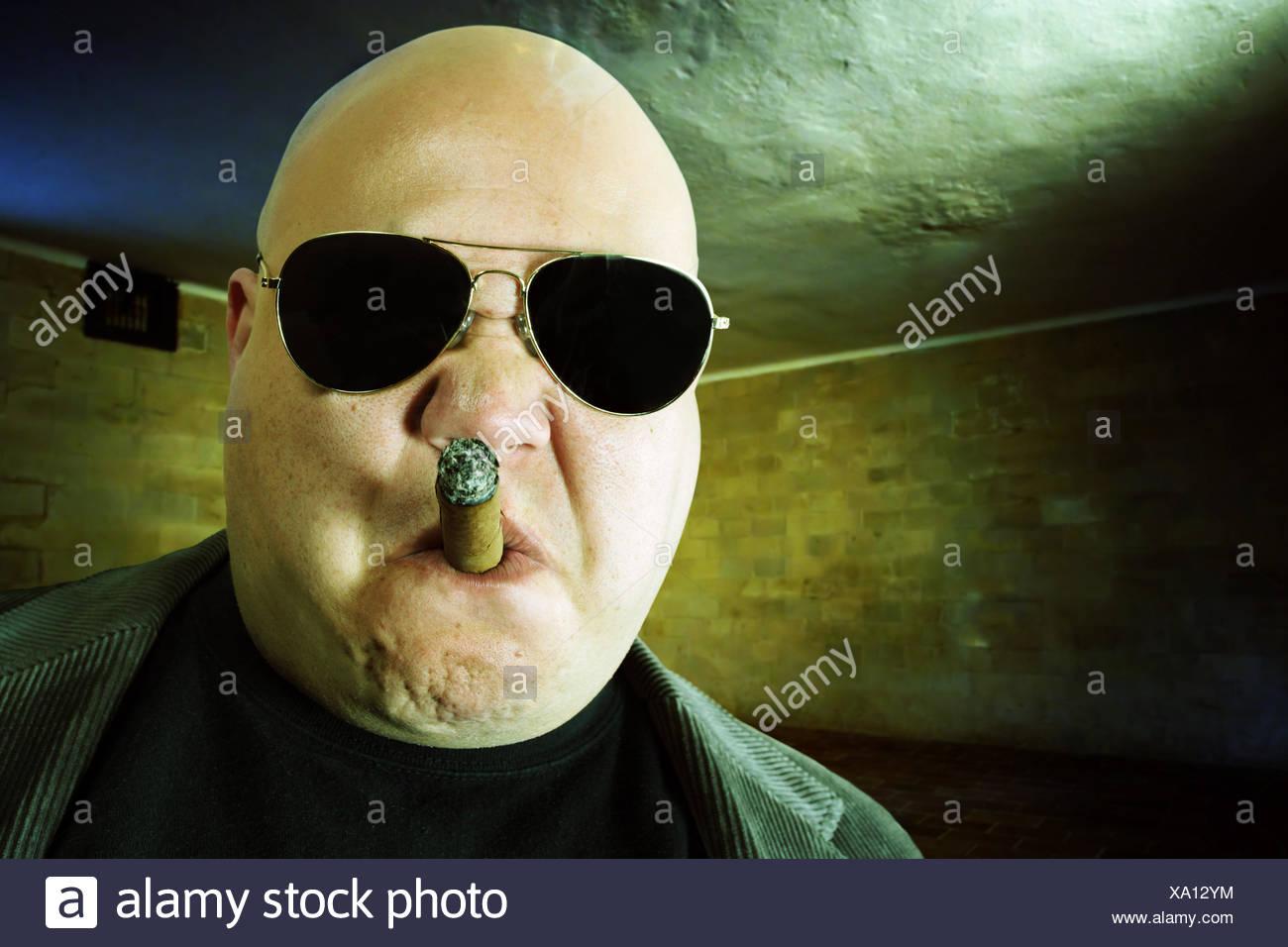 cigar hooligan leader - Stock Image