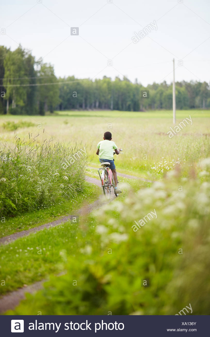 Sweden, Vastra Gotaland, Gullspang, Runnas, Rear view of boy (8-9) cycling - Stock Image