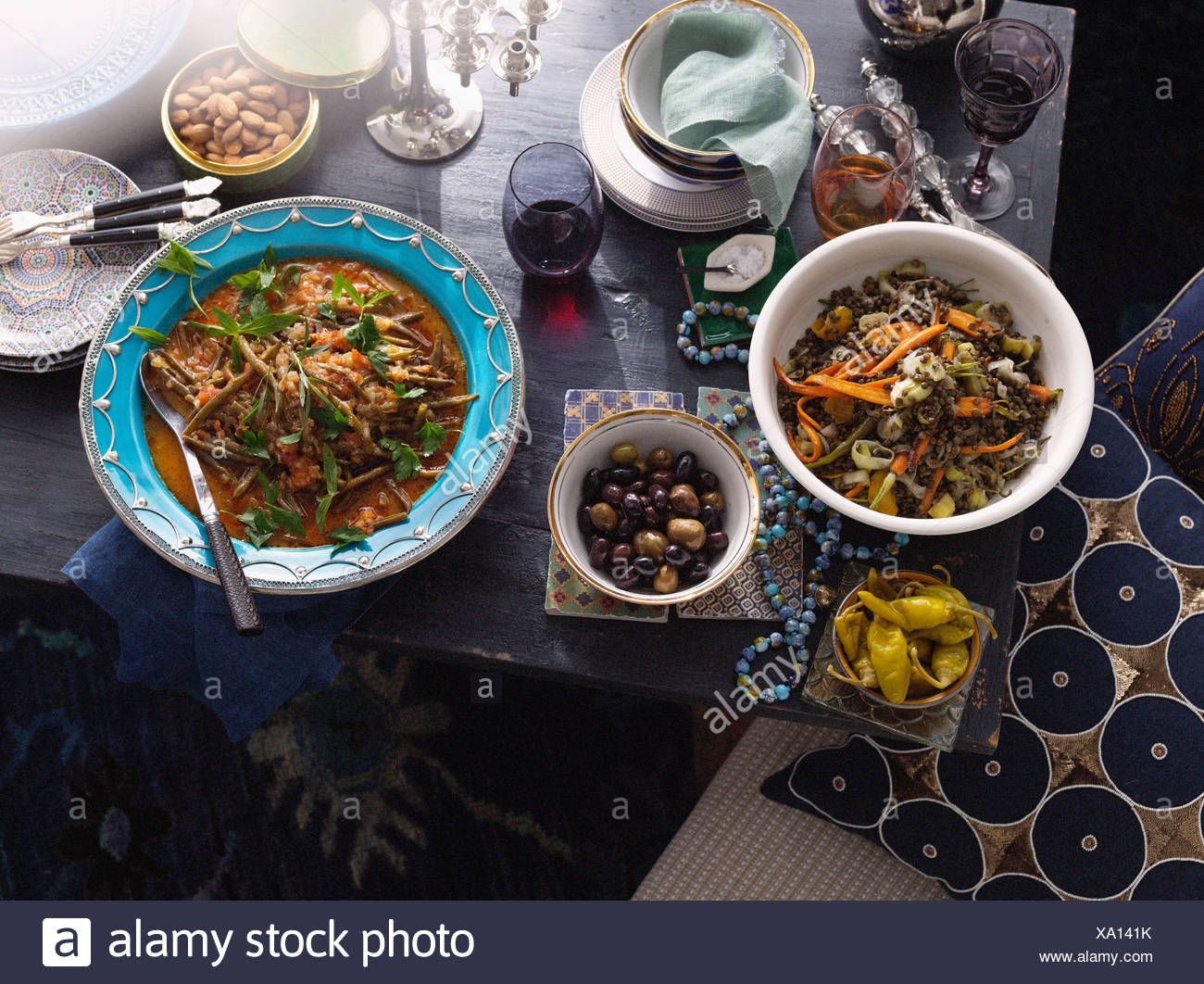 Plates of Turkish food on table - Stock Image