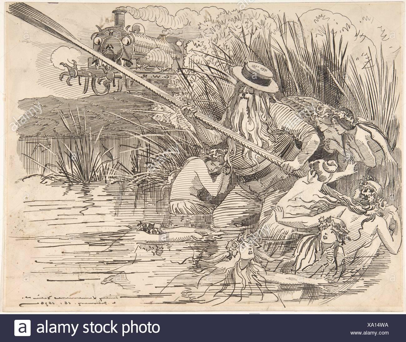 Cartoon for Punch (The Great Western Railway), Feb. 18, 1898. Artist: Sir (Edward) Linley Sambourne (British, London 1844-1910 Kensington, London); - Stock Image