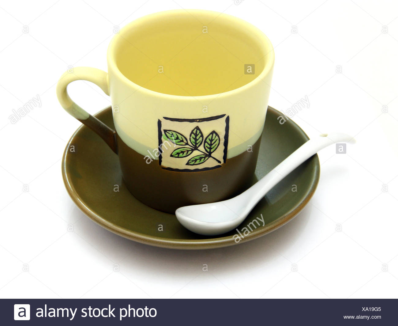 Ceramic Cup On A Saucer With Drawing Stock Photo Alamy