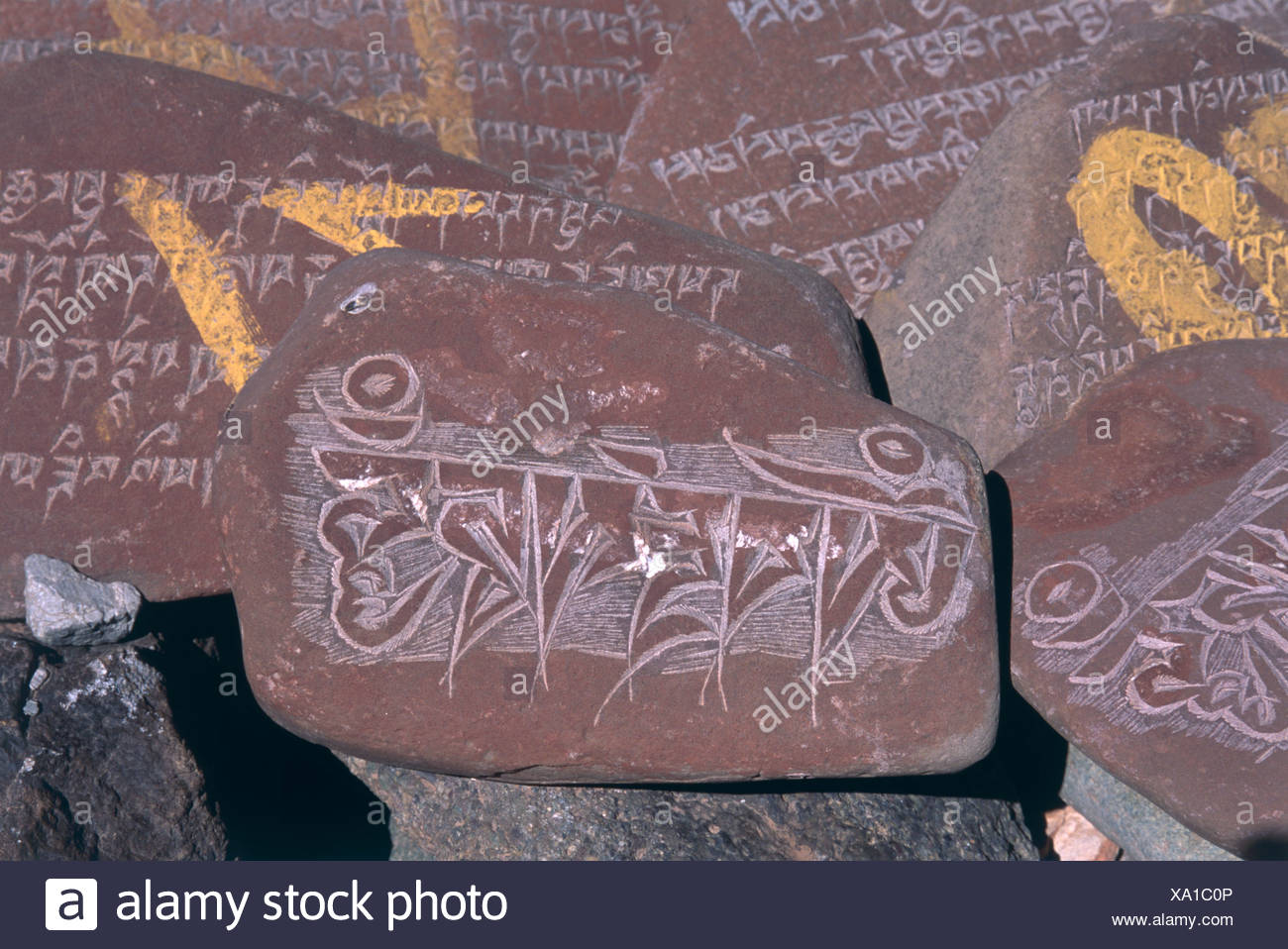 China, Tibet, Mani Stone, carved with Sanskrit mantra ommani padme hum (hail to the jewel in the lotus) - Stock Image