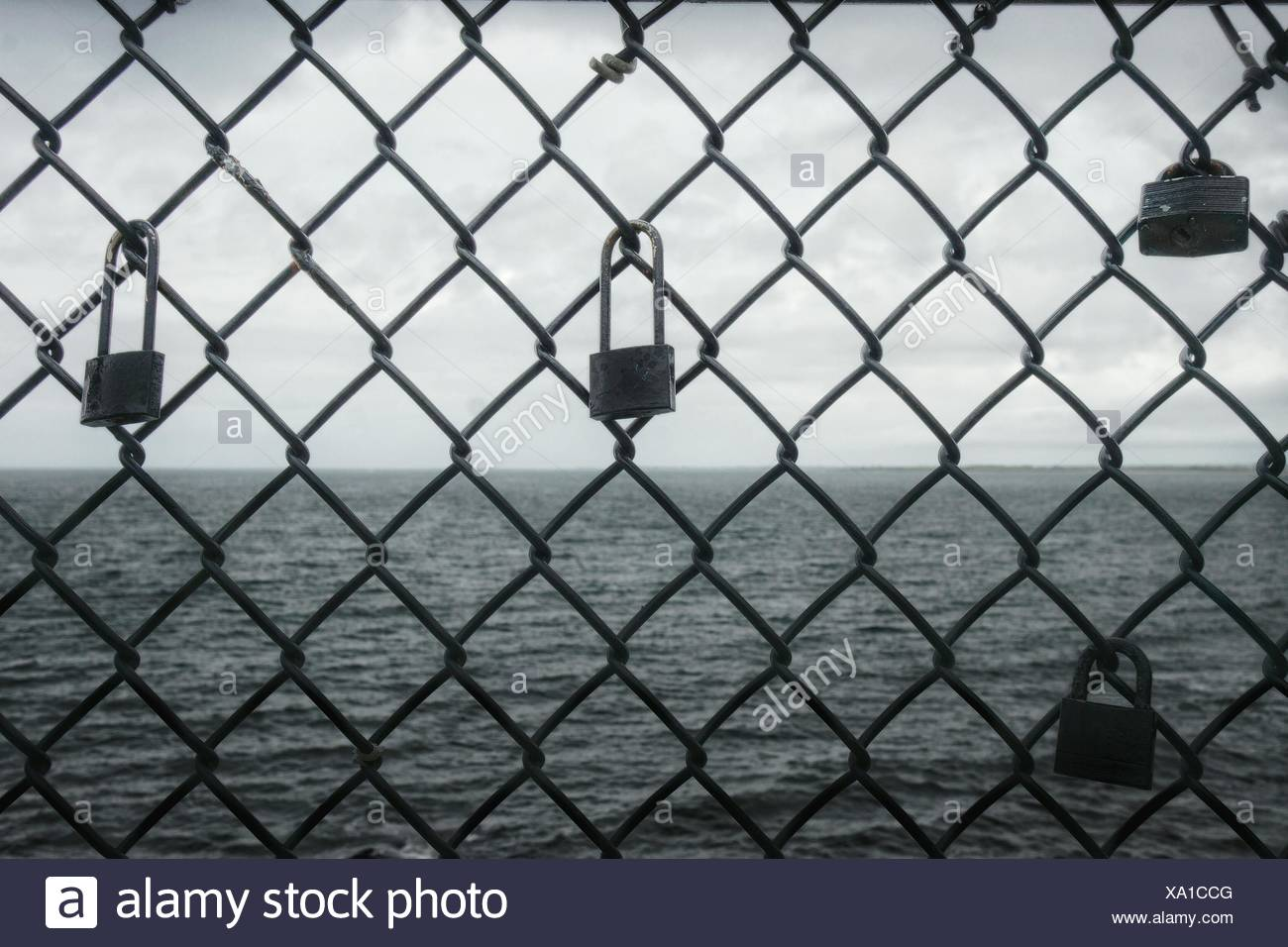 Padlocks Attached On Chainlink Fence By Sea Stock Photo