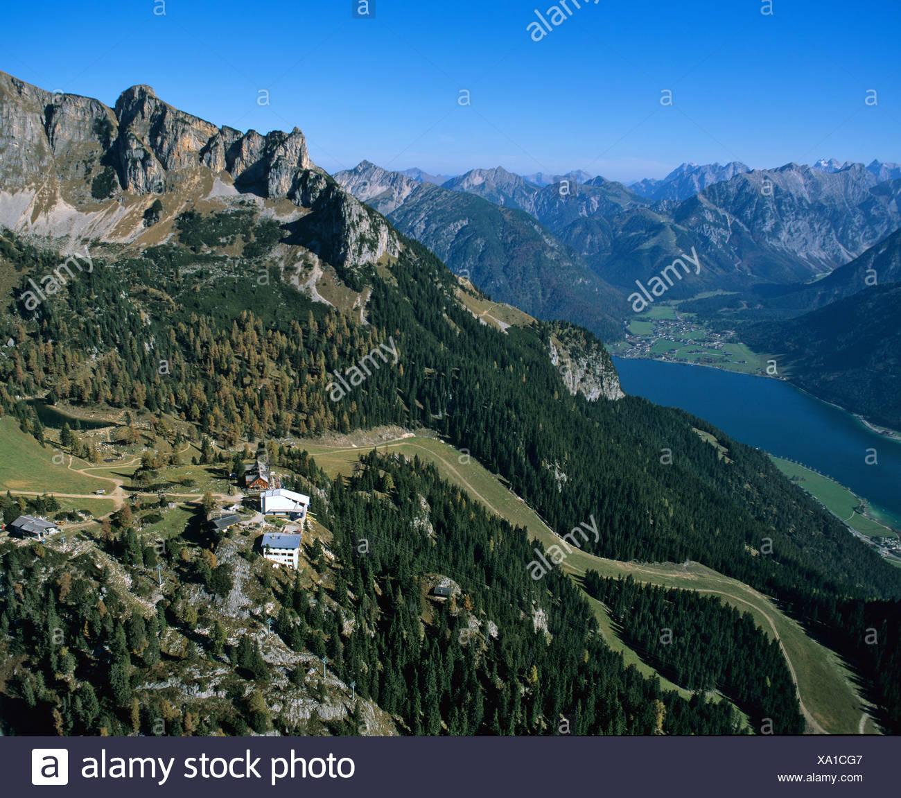 Achensee, behind Karwendel, Erfurter Huette, Rofangebirge, Tyrol, Austria Stock Photo