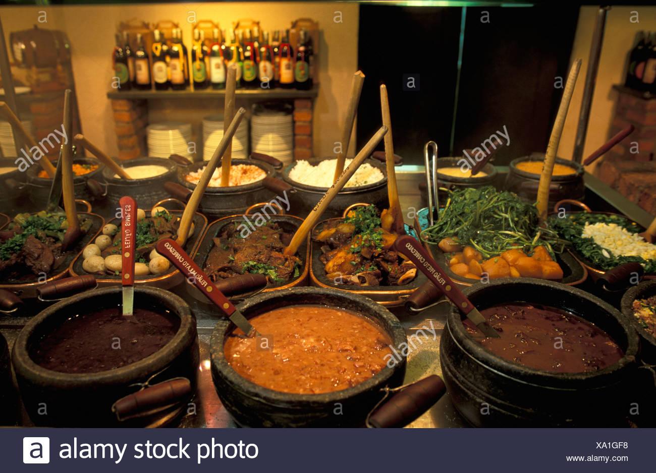 Buffet, Brazil, South America, ian food, Rio de Janeiro, Brazil, South America, Pots - Stock Image