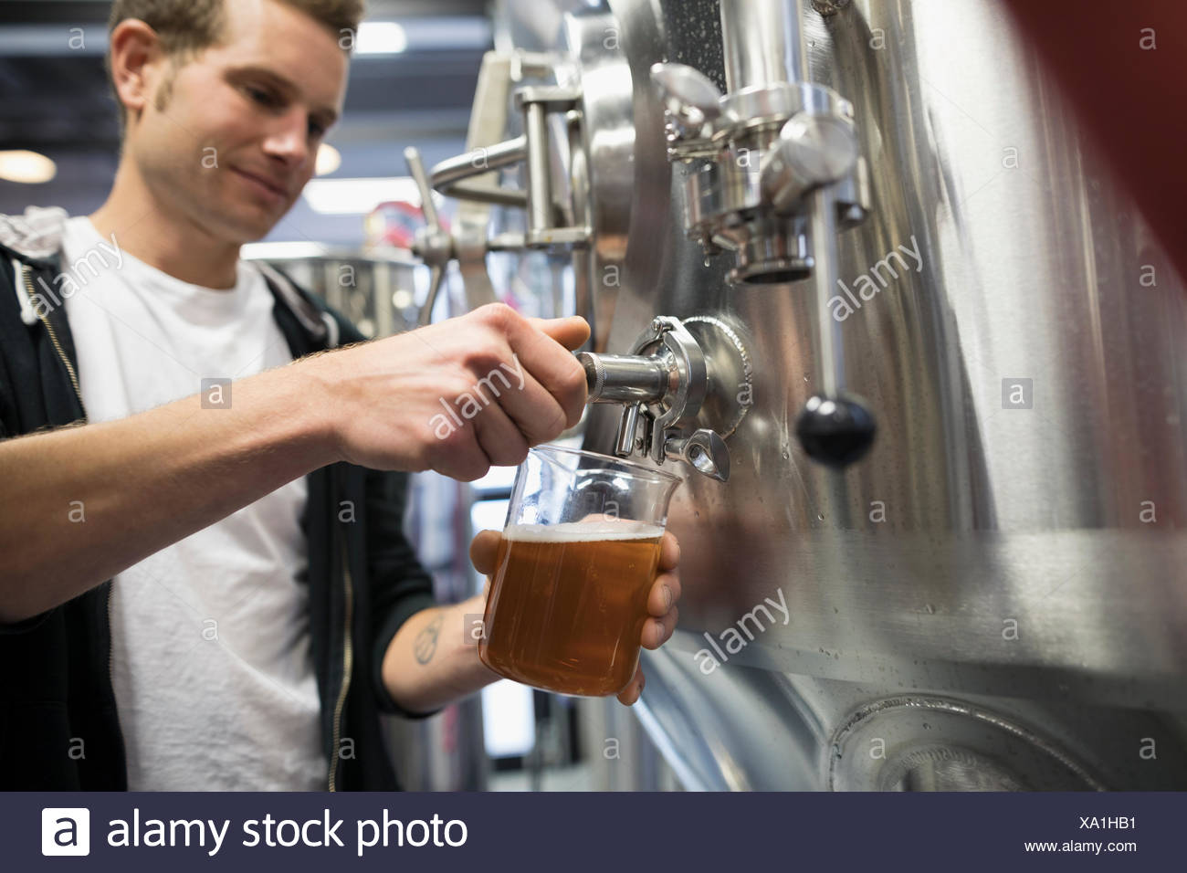 Male brewer pouring beer from vat into beaker in brewery - Stock Image