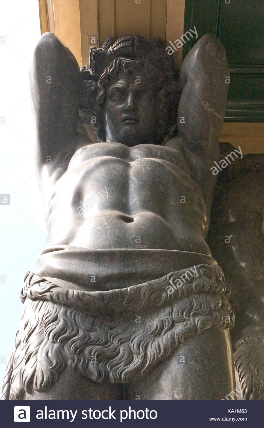 GUS Russia St Petersburg 300 years old Venice of the North New Ermitage Portikus mit Atlanten Granite Atlanten close up near - Stock Image