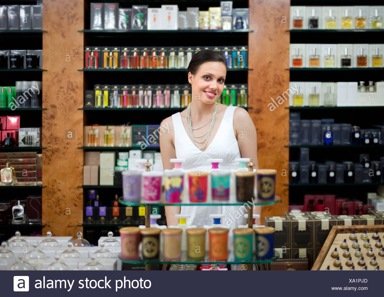 Owner of perfume store - Stock Image