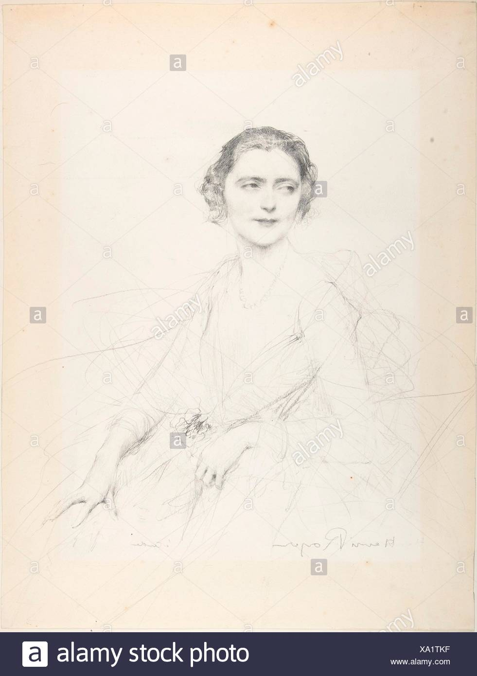 Tête d'expression. Artist: Henri-Paul Royer (French, Nancy, 1869-1938); Date: n.d; Medium: Graphite on paper; Dimensions: 11 7/8 x 8 5/8 in. (30.2 x - Stock Image