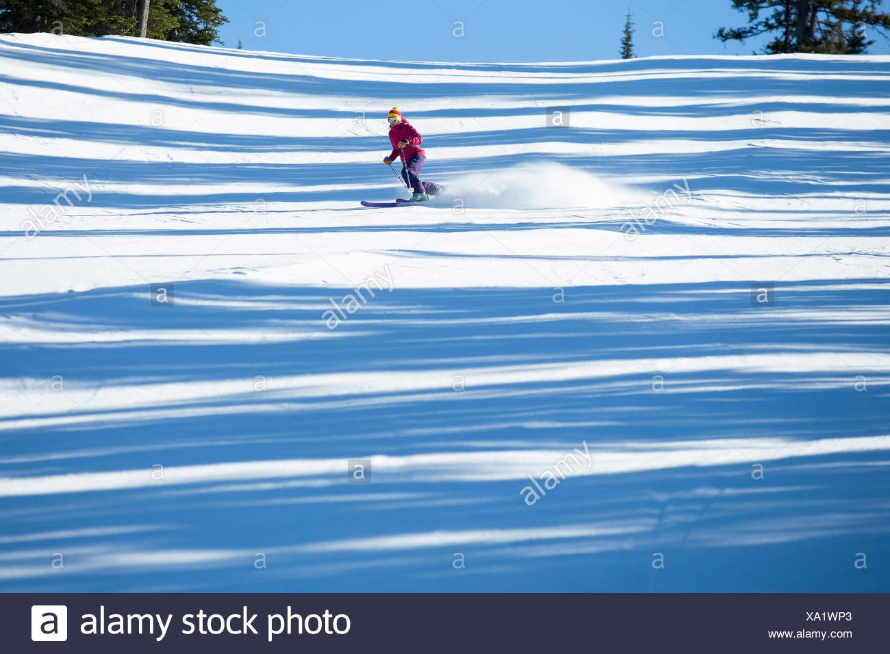 Woman skiing downhill - Stock Image