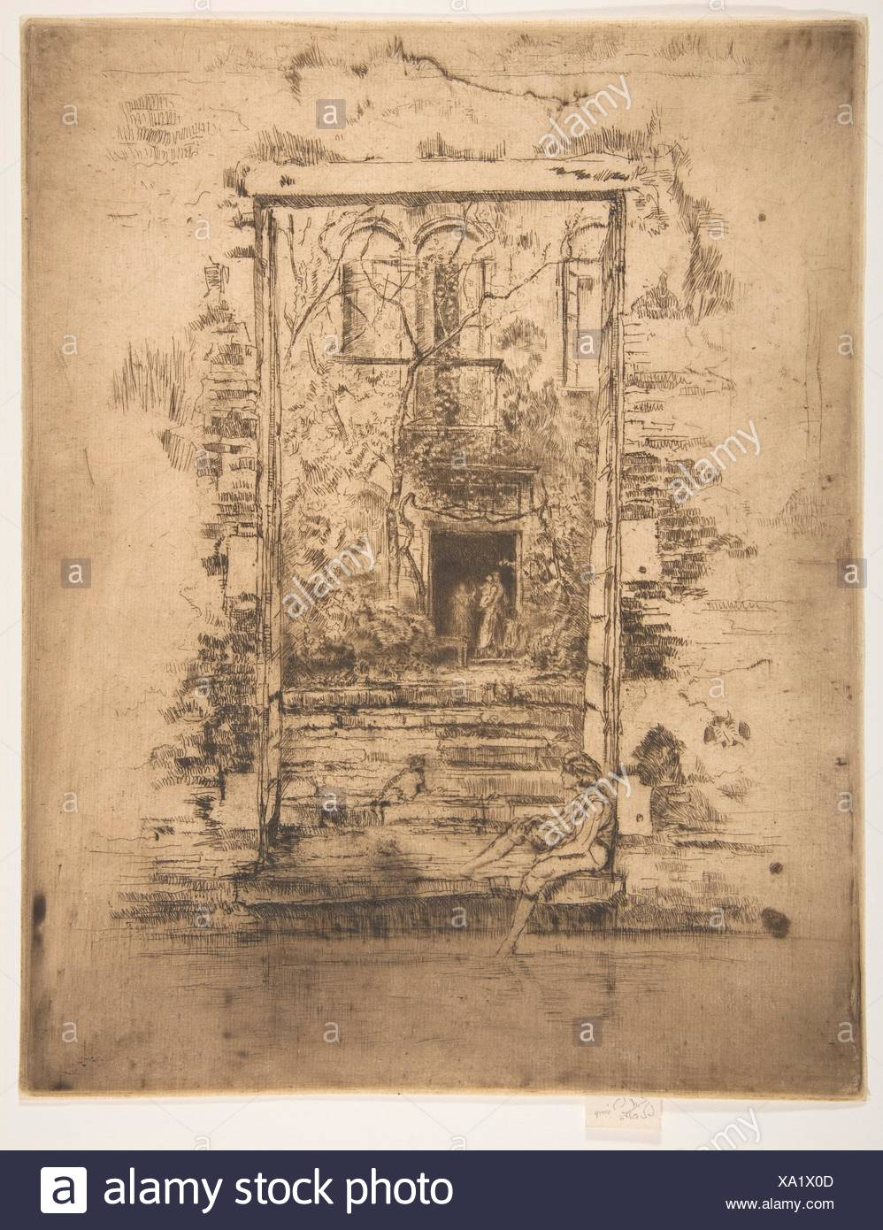 The Garden. Series/Portfolio: Second Venice Set (A Set of Twenty-Six Etchings by James A. McN. Whistler, 1886); Artist: James McNeill Whistler - Stock Image