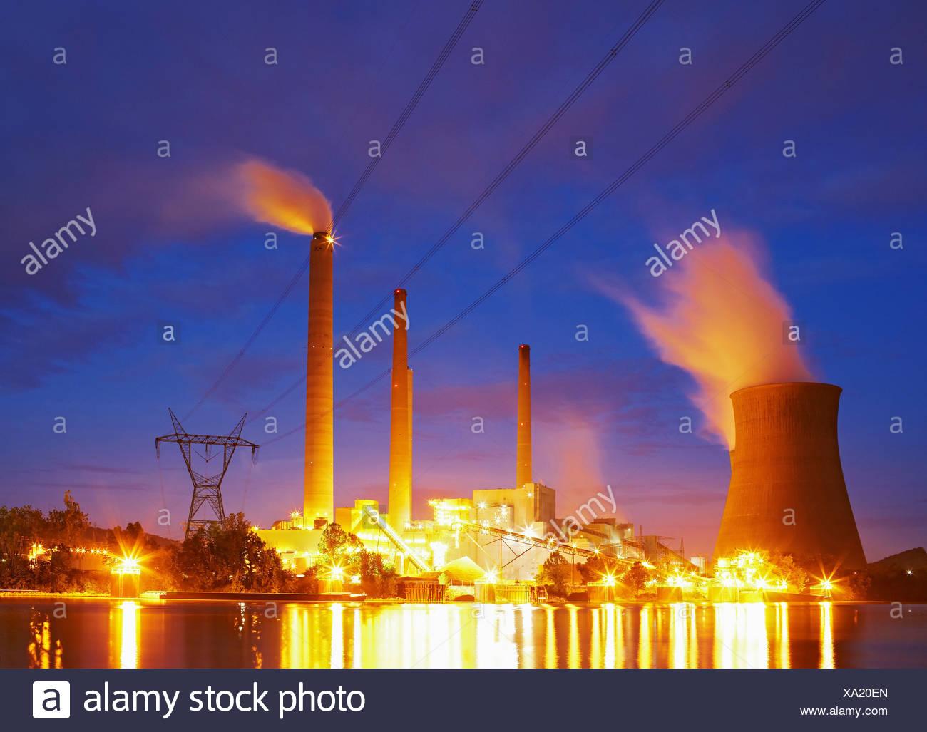 John E. Amos Power Plant and Kanawha River at Dusk - Stock Image