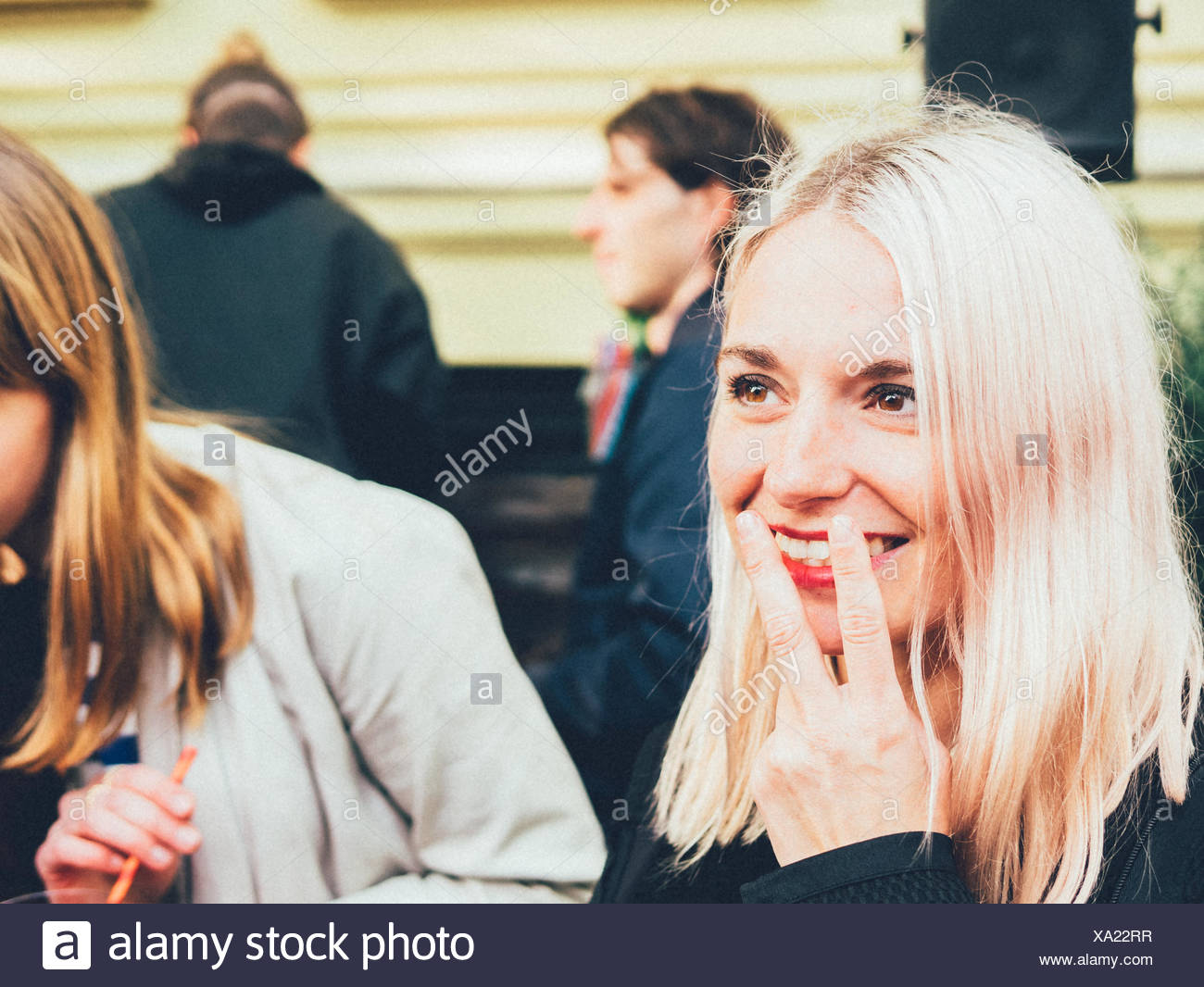 Beautiful Young Woman With Smoking Gesture - Stock Image