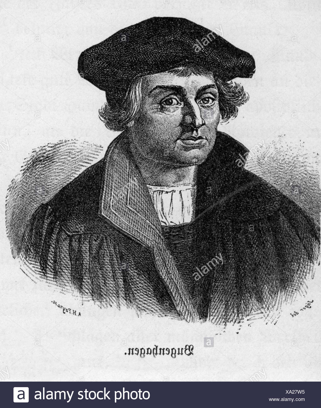 Bugenhagen Johannes 24 6 1485 20 4 1558 German reformer portrait steel engraving by Albert Henry Payne 1812 1902 19 - Stock Image