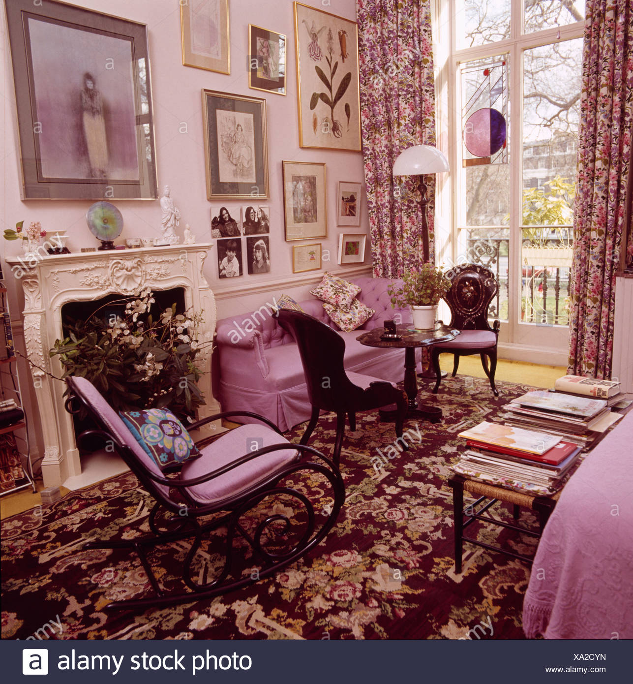Fine Rocking Chair On Floral Patterned Carpet In Purple Eighties Creativecarmelina Interior Chair Design Creativecarmelinacom