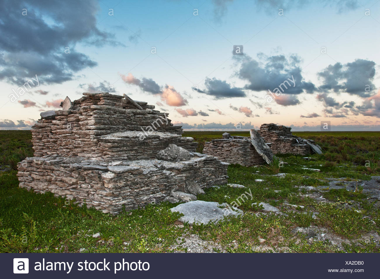 Polynesian tombs on Malden Island in the Southern Line Islands. - Stock Image