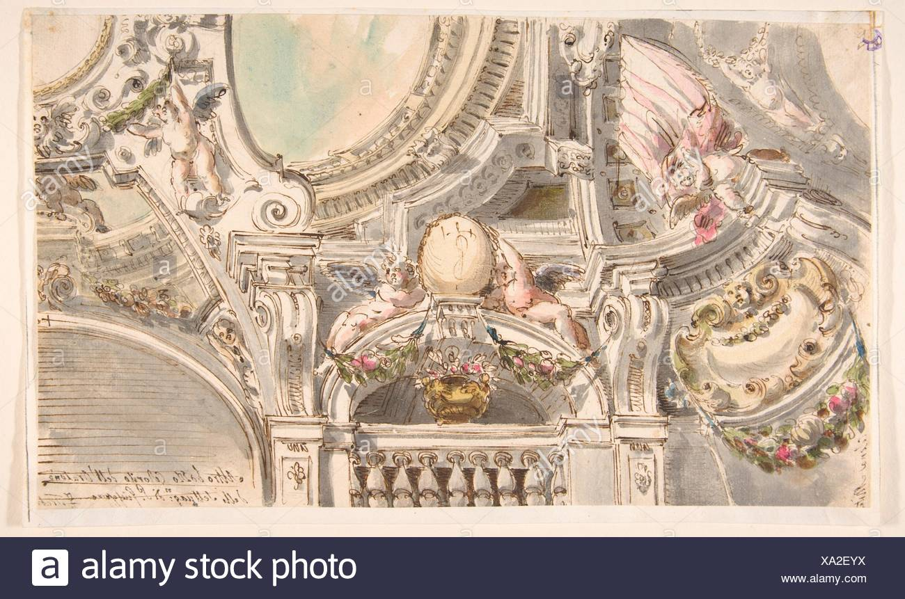 Design for a Ceiling. Artist: Attributed to Faustino Trebbi (Italian, Budrio [Bologna] 1761-1836 Bologna); Medium: Pen and ink, brush and wash, with - Stock Image