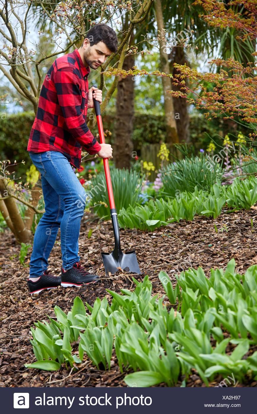 Gardener with hand tool, Garden, Digging shovel, Aiete Park, Donostia, San Sebastian, Gipuzkoa, Basque Country, Spain, Europe - Stock Image