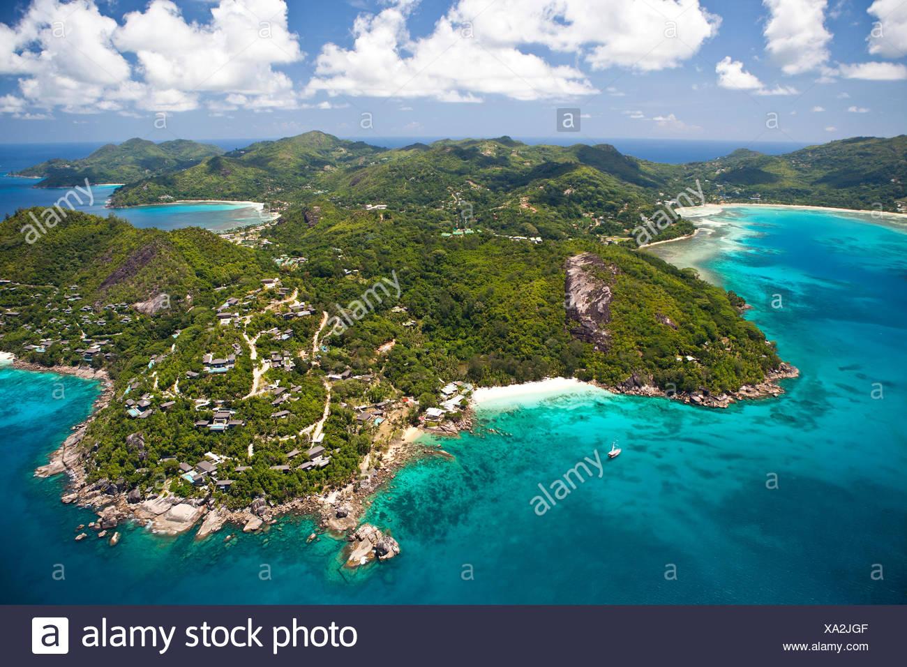 Anse á la Mouche, Anse Soleil, Roche Soleil, Mte. Toupie and Baie Lazare, Southern Mahe, Mahe Island, Seychelles, Africa - Stock Image