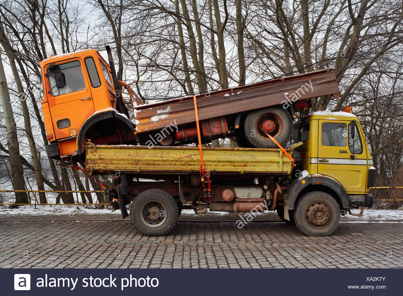 Hamburg, Germany, an old truck on the loading area of a specific truck in the port of Hamburg - Stock Image