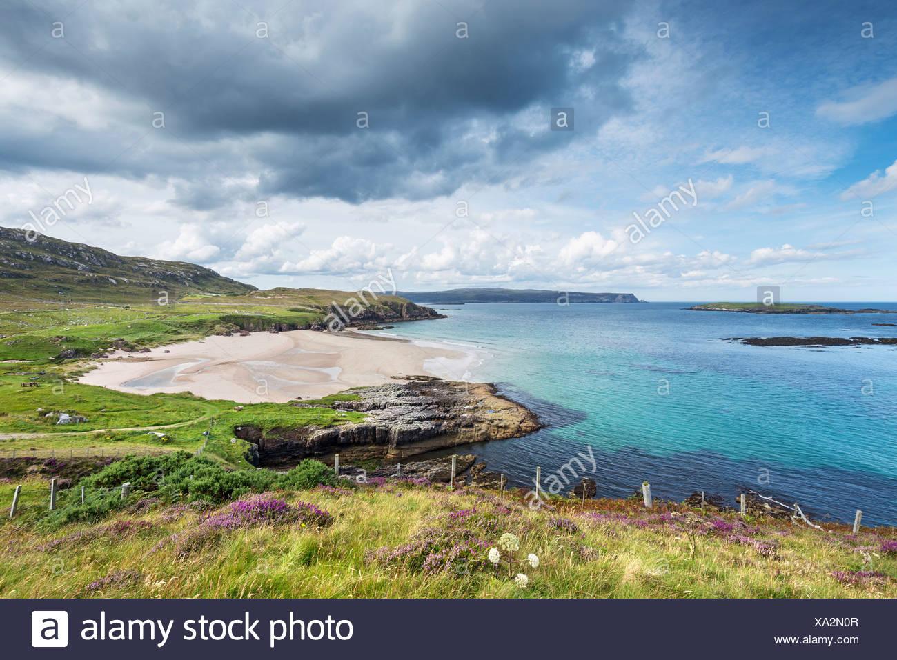 Coastal landscape with Sangobeg Beach, Durness, Sutherland County, Highland, Scotland, United Kingdom Stock Photo